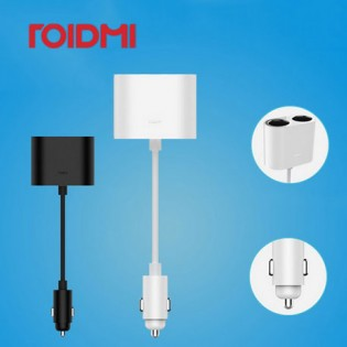 Xiaomi Roidmi 1 to 2 Car Cigarette Lighter Charger Adapter White